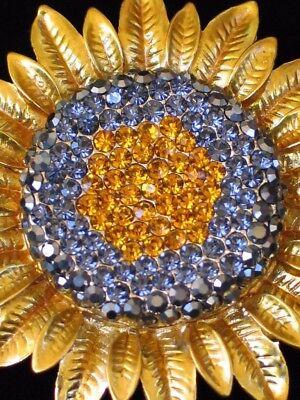 """GOLD HEMATITE SUMMER GARDEN DAISY SUNFLOWER FLOWER PIN BROOCH JEWELRY 2.25""""LRG"""