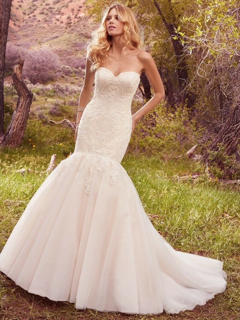 Maggie sottero wedding dress keely fit flare with matching maggie sottero wedding dress keely fit flare with matching cathedral veil ombrellifo Choice Image