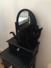 Black mirrored 2 drawer dressing table good condition