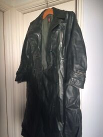 German army leather green lady's raincoat