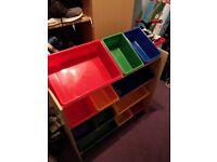 Children storage unit, coloured boxes.