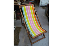 Stripey Deck Chairs With Wooden Frame