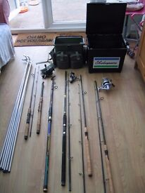 Fishing gear, rods, reels, tackle, carry cases.