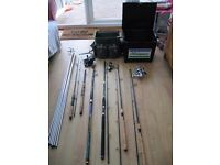 Fishing gear, rods, reels, tackle, carry cases. Coarse and sea angling