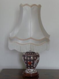 Ceramic Table Lamps, Floral Design on Wooden Bases with Ivory Silk Shades