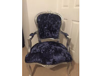 Blue crushed velvet studded louis french armchair
