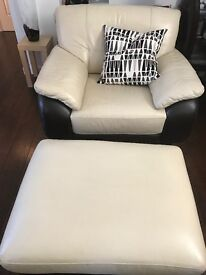 Cream & Brown 3 seat, 2 seat, 1 seat and foot stool.