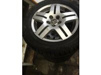 Four Dunlop mk4 golf alloys with winter tyres 195/65/15