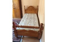 Quality Single Bed + Mattress Solid Pine Wood - House Clearance