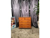 Chest of drawers in polished wood, free to collect