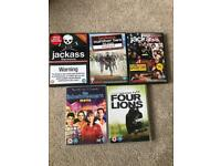 Comedy DVD's Jackass 1,2 & 2.5, The Inbetweeners Four Lions