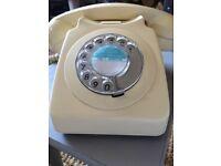 Original vintage retro rotary dial cream phone