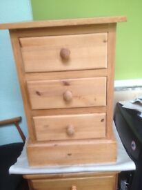 3 draw pine chests