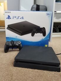 PS4 slim 500GB with one controller with box.