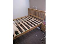 Solid wood, Oak Stained Double Bed.