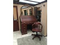 Large Victorian rolltop with captains chair