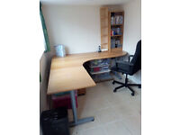 Office Furniture :- desk, swivel chair, wall cupboard, bookshelf, CD shelf, 3 drawer cabinet