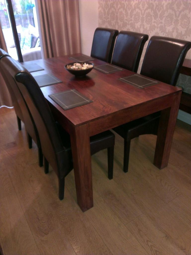 Dark Mango Solid Wood Table And 6 Faux Leather Chairs