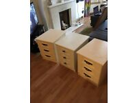 3 solid bedside tables, cream