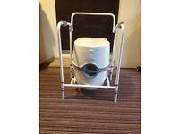Thetford Porta Potti Excellence Electric & Manual Flush Portable Toilet & Folding Mobility Frame