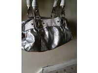 Cathy Van Zeland silver and white grab/shoulder bag