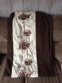 Dunelm brown and cream faux suede curtains