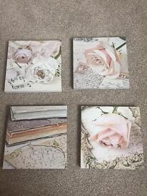 Vintage rose and script canvases for wall
