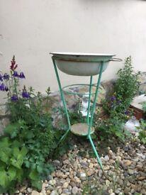 Vintage Green Shabby Metal WASH STAND Bowl Primitive Outdoor Garden Decor