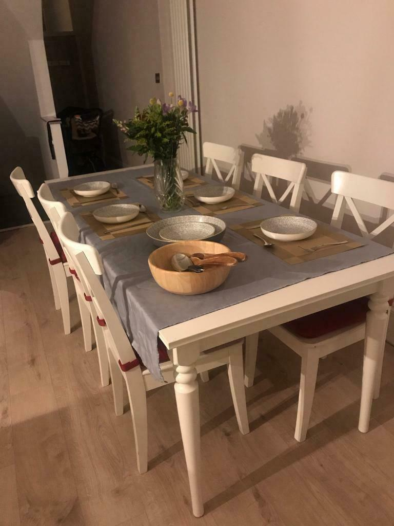 Stupendous Extending Ikea Ingatorp White Dinner Table And 6 Chairs In Clapham London Gumtree Ocoug Best Dining Table And Chair Ideas Images Ocougorg