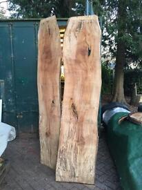 Two Large Barn Dried Live Edged Spalted Beech Timber Slabs