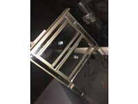 Glass bedside cabinet