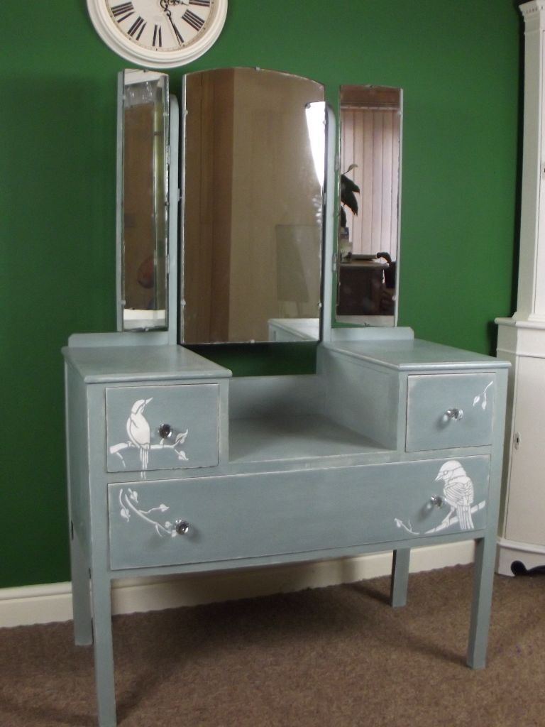 Dressing table and chair hand painted a sloan duck egg for Gumtree beauty table