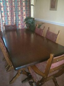 REDUCED Refectory Dining Table & 6 Matching Chairs, in Oak