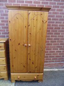 Wardrobe, Solid pine wardrobe with bottom drawer, excellent condition.