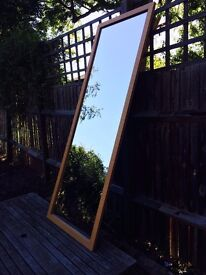 LARGE, FULL-LENGTH, WALL MIRROR. Safety backed glass.