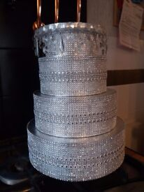 Wedding cake stand - diamante effect 3 tier