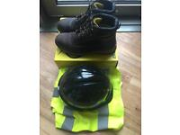 Dunlop steel toe boots high vis vest and hard hat