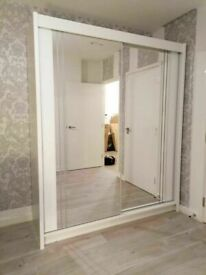 💥💯 DOORBUSTER SALE SALE 2 DOORS SLIDING WARDROBE WITH FULL MIRRORS ALL SHELVES & RAILS INCLUDED