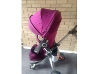 Stokke pram purple, with all accessories