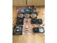 Job lot of 14 fans - 8 x 120mm, 2x 140mm, 2 x 90mm & 2 x 80mm. £20 for the lot!