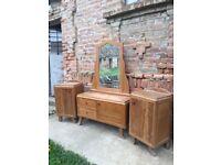 ART DECO Dressing Table & Bedside Cabinets Solid Wood Mid Century Vintage Furniture Bedroom