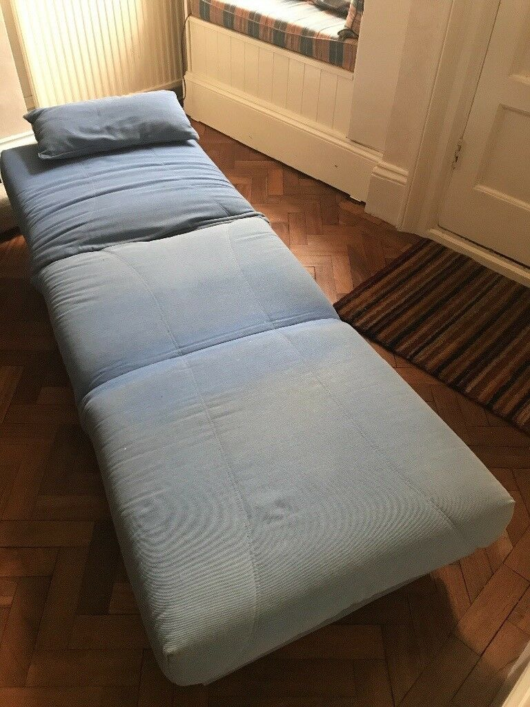 Blue Pull Out Armchair Sofa Bed