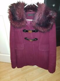 Size 12 Miss Selfridge plum coat