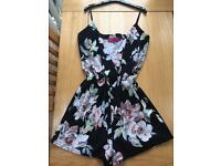 BooHoo - Size 12 - Black Floral Playsuit