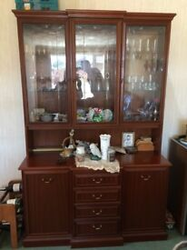 Display cabinet - Dark brown - mirrored - 2 cupboards, 4 drawers & drinks tray