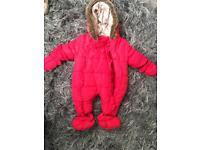 Baby girls snowsuit / pramsuit newborn