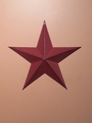 "12"" Burgundy Barn Star, New, Primitive, Metal, Stars, Distressed, Country Decor"