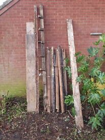 Wood rafters beams door frame from a Victorian outbuilding