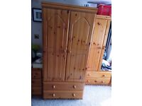 SOLID PINE DOUBLE DOOR 2 DRAWER WARDROBE WITH HANGING RAIL