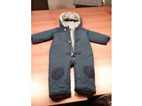 Snow suit. Fleece lined 18 - 24 month. Dark blue. Used but in good condition